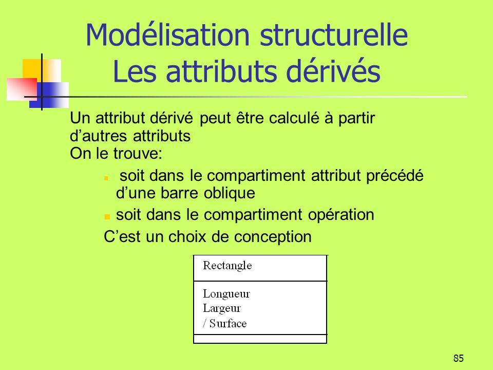 84 Modélisation structurelle Les Attributs Chaque nom dattribut peut être accompagné de détails facultatifs tels que le type ou la valeur par défaut.