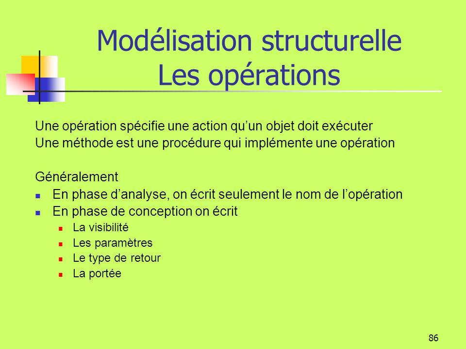 85 Modélisation structurelle Les attributs dérivés Un attribut dérivé peut être calculé à partir dautres attributs On le trouve: soit dans le comparti