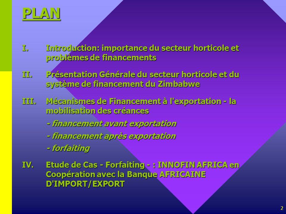 2 PLAN I.Introduction: importance du secteur horticole et problèmes de financements II.Présentation Générale du secteur horticole et du système de fin