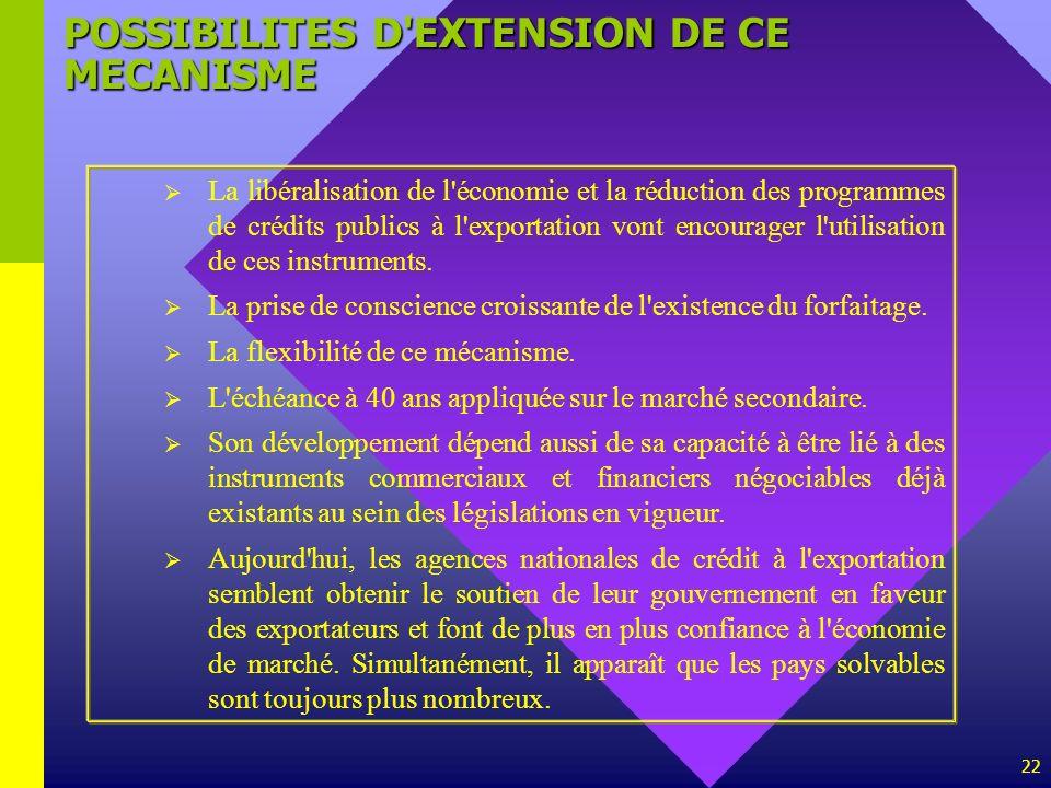 22 POSSIBILITES D'EXTENSION DE CE MECANISME La libéralisation de l'économie et la réduction des programmes de crédits publics à l'exportation vont enc