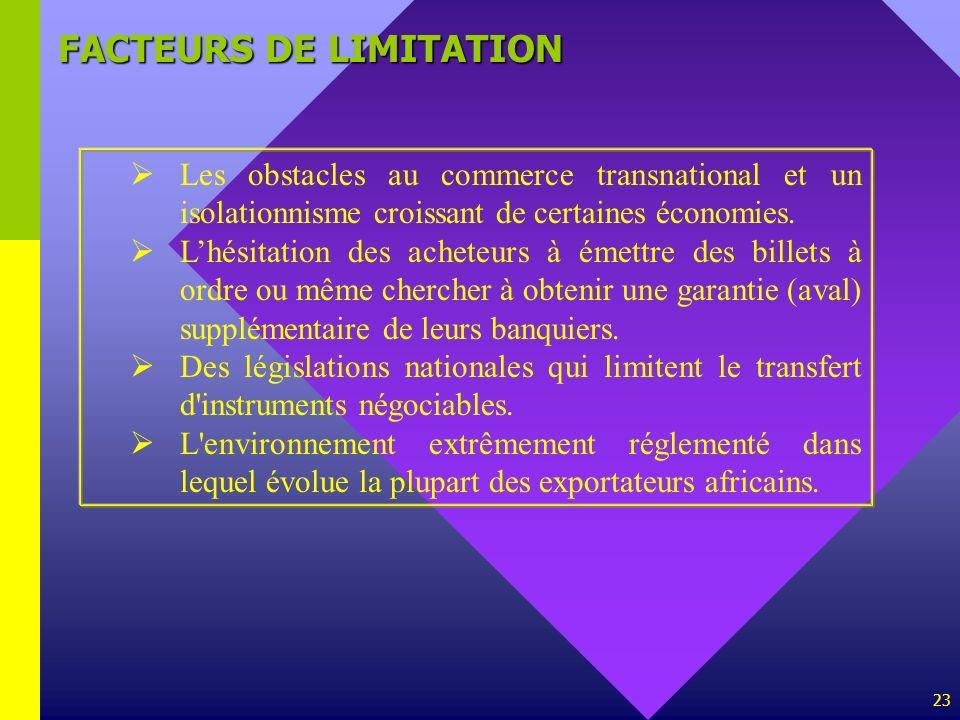 23 FACTEURS DE LIMITATION Les obstacles au commerce transnational et un isolationnisme croissant de certaines économies. Lhésitation des acheteurs à é