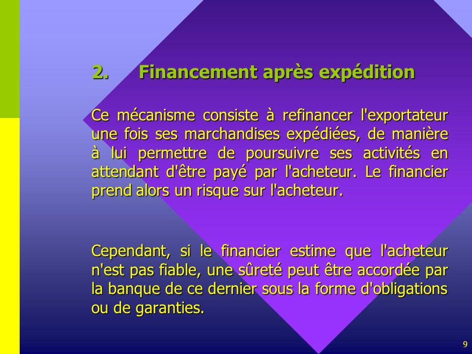 9 2.Financement après expédition Ce mécanisme consiste à refinancer l'exportateur une fois ses marchandises expédiées, de manière à lui permettre de p