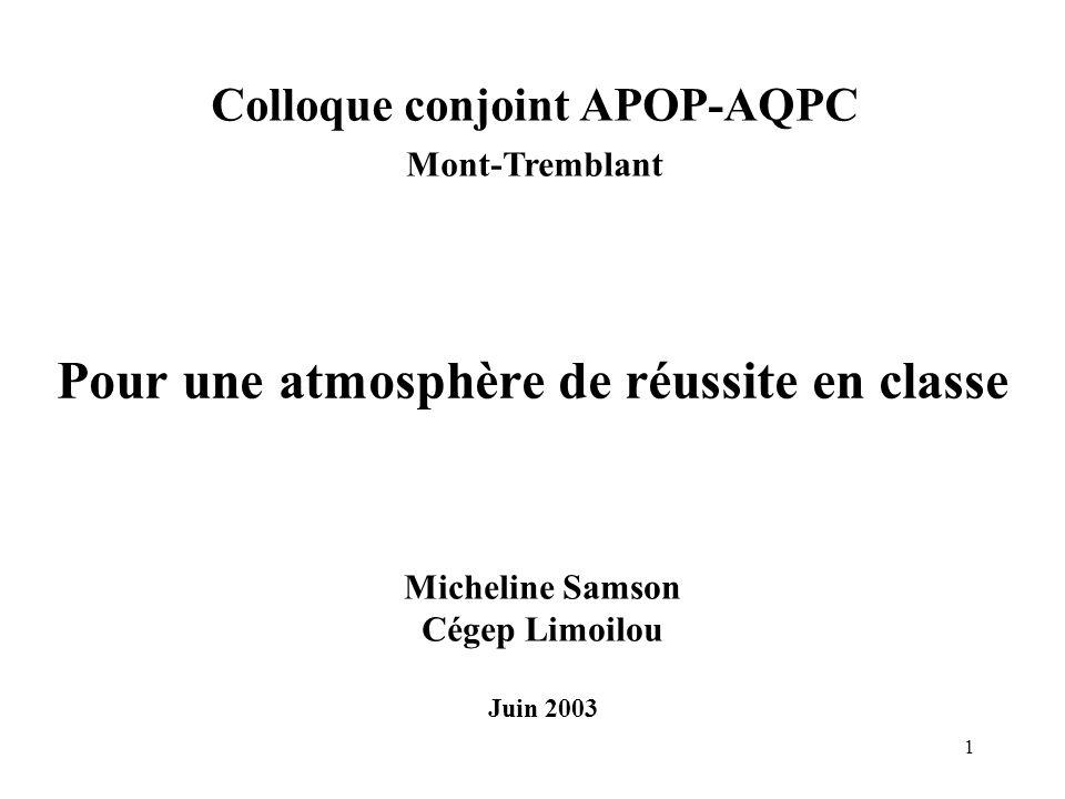 1 Pour une atmosphère de réussite en classe Micheline Samson Cégep Limoilou Juin 2003 Colloque conjoint APOP-AQPC Mont-Tremblant