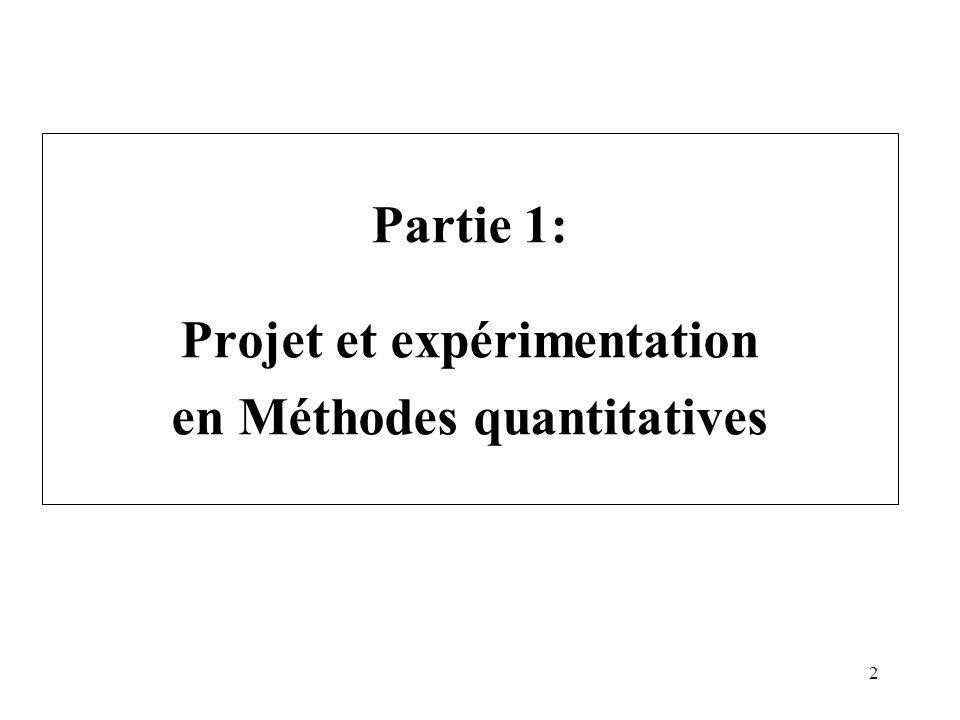 2 Partie 1: Projet et expérimentation en Méthodes quantitatives
