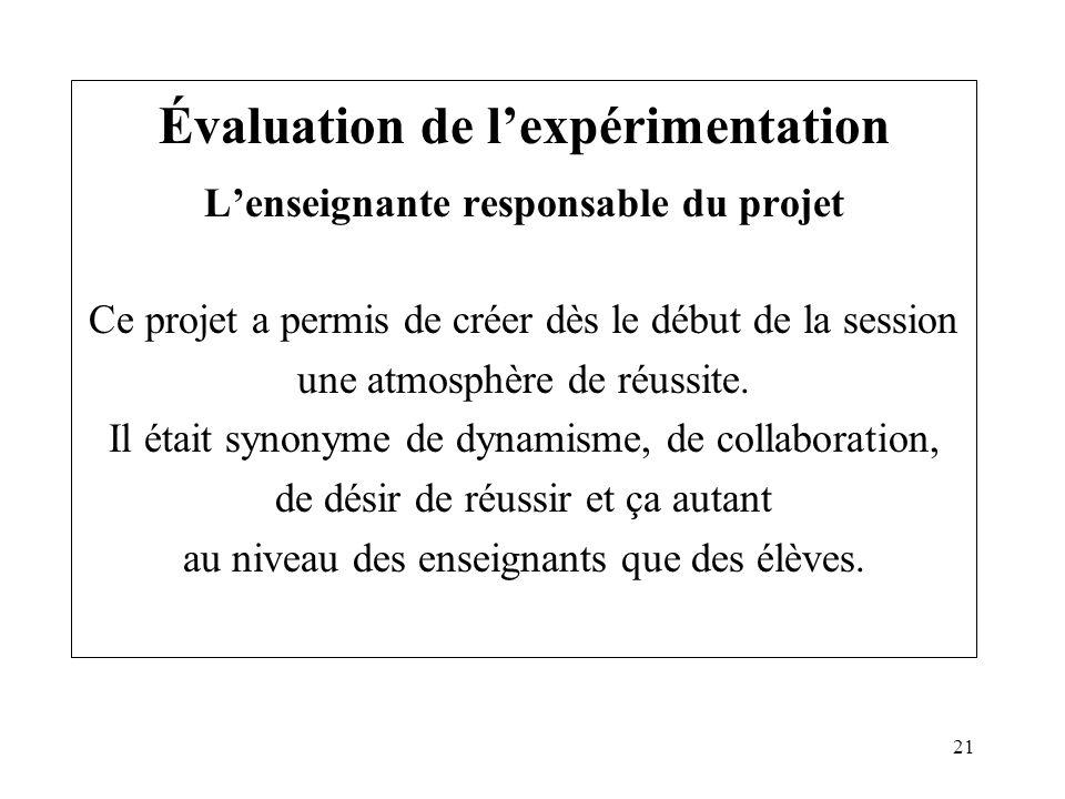 21 Évaluation de lexpérimentation Lenseignante responsable du projet Ce projet a permis de créer dès le début de la session une atmosphère de réussite