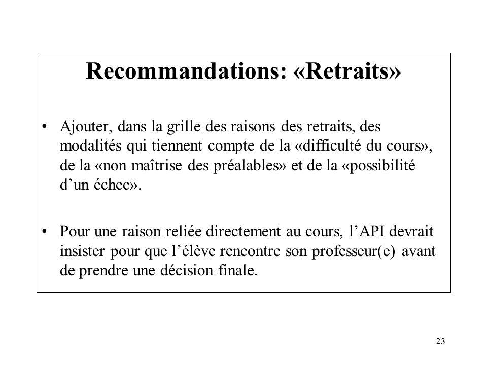 23 Recommandations: «Retraits» Ajouter, dans la grille des raisons des retraits, des modalités qui tiennent compte de la «difficulté du cours», de la