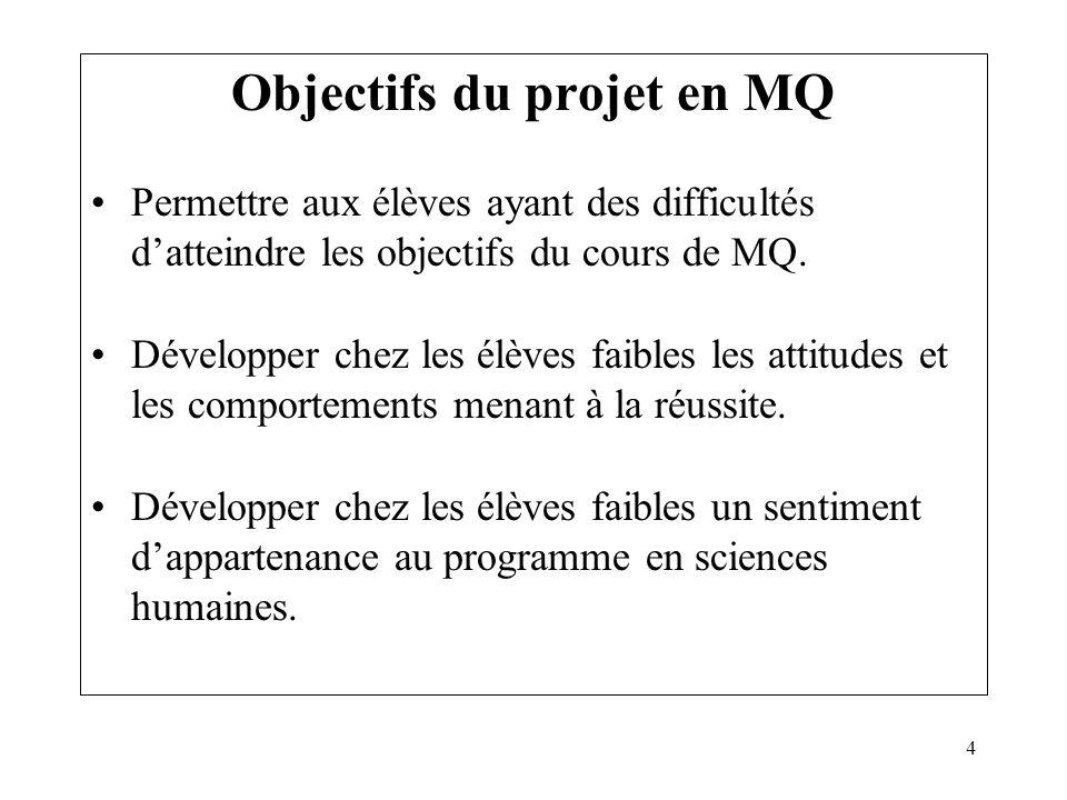 4 Objectifs du projet en MQ Permettre aux élèves ayant des difficultés datteindre les objectifs du cours de MQ. Développer chez les élèves faibles les