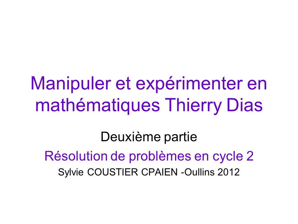 Manipuler et expérimenter en mathématiques Thierry Dias Deuxième partie Résolution de problèmes en cycle 2 Sylvie COUSTIER CPAIEN -Oullins 2012