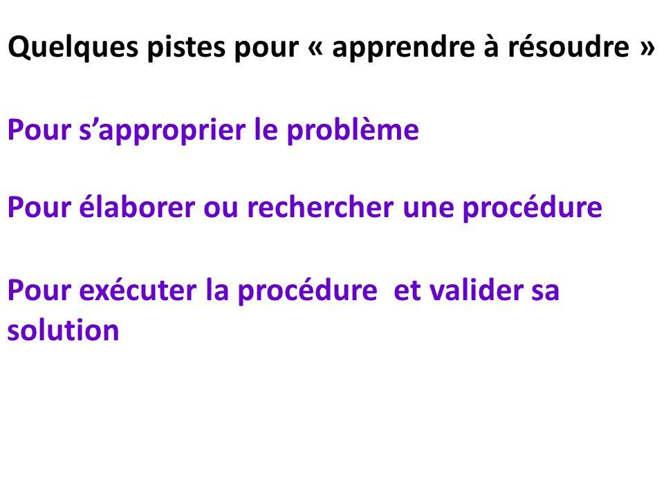 Quelques pistes pour « apprendre à résoudre » Pour sapproprier le problème Pour élaborer ou rechercher une procédure Pour exécuter la procédure et val