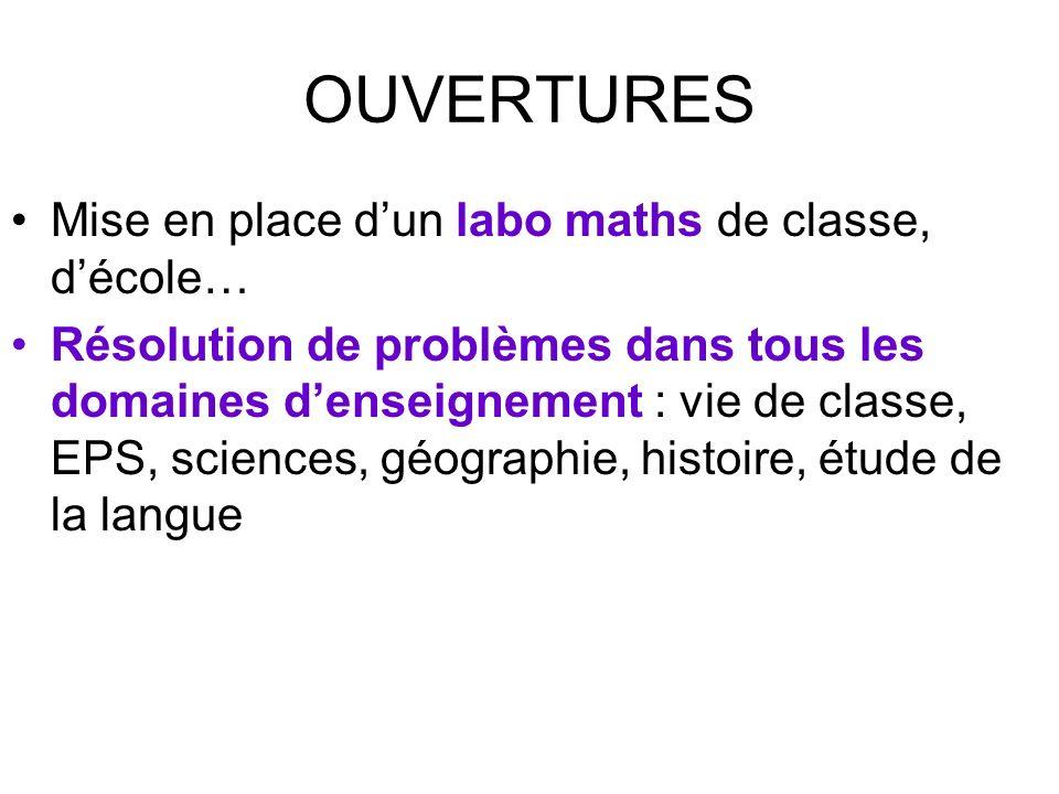 OUVERTURES Mise en place dun labo maths de classe, décole… Résolution de problèmes dans tous les domaines denseignement : vie de classe, EPS, sciences