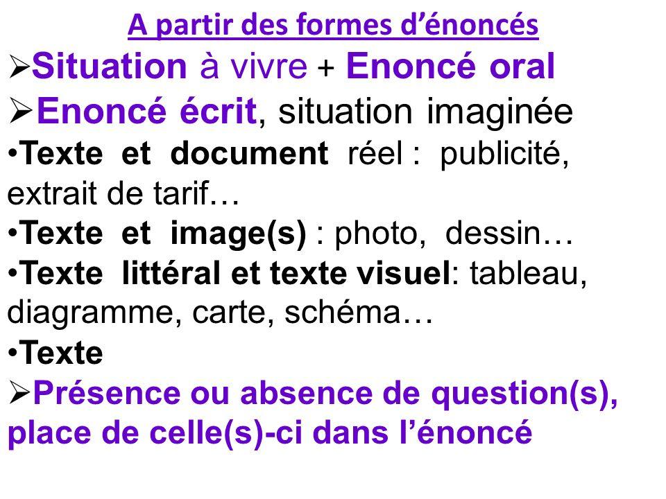 A partir des formes dénoncés Situation à vivre + Enoncé oral Enoncé écrit, situation imaginée Texte et document réel : publicité, extrait de tarif… Te