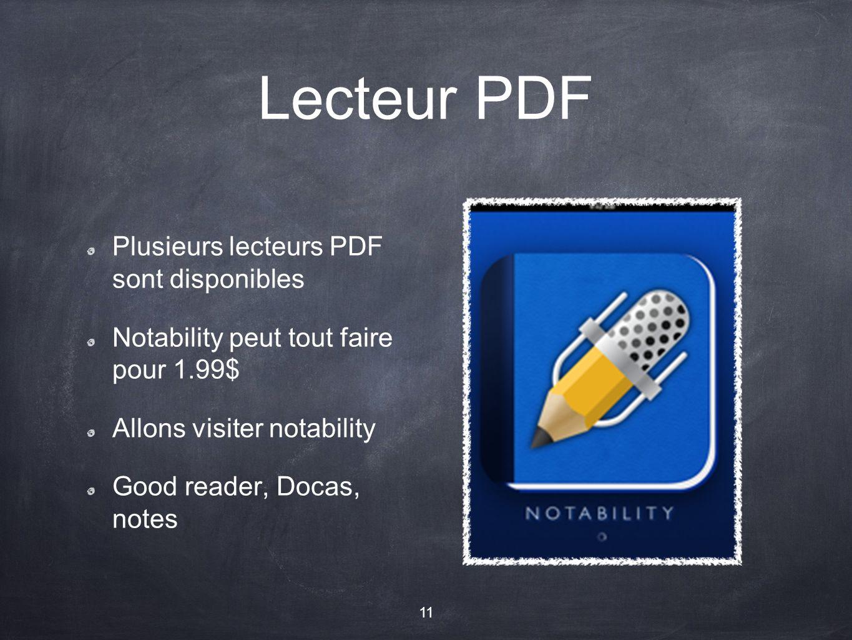 Lecteur PDF Plusieurs lecteurs PDF sont disponibles Notability peut tout faire pour 1.99$ Allons visiter notability Good reader, Docas, notes 11