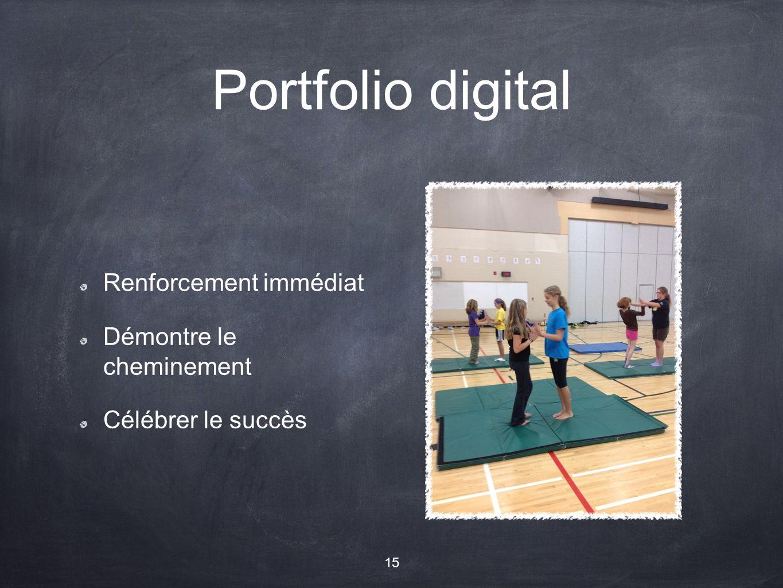 Portfolio digital Renforcement immédiat Démontre le cheminement Célébrer le succès 15