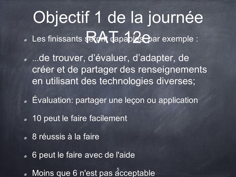 Objectif 1 de la journée RAT 12e Les finissants seront capables, par exemple :...