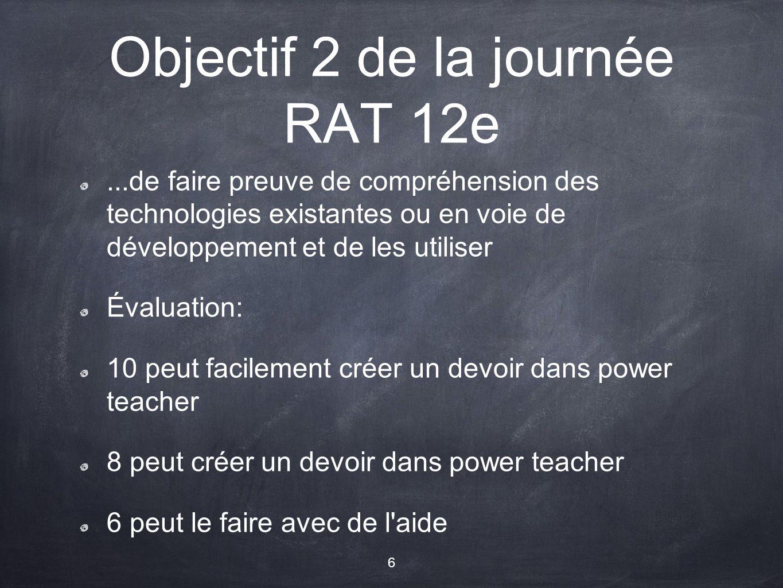 Objectif 2 de la journée RAT 12e...de faire preuve de compréhension des technologies existantes ou en voie de développement et de les utiliser Évaluation: 10 peut facilement créer un devoir dans power teacher 8 peut créer un devoir dans power teacher 6 peut le faire avec de l aide 6