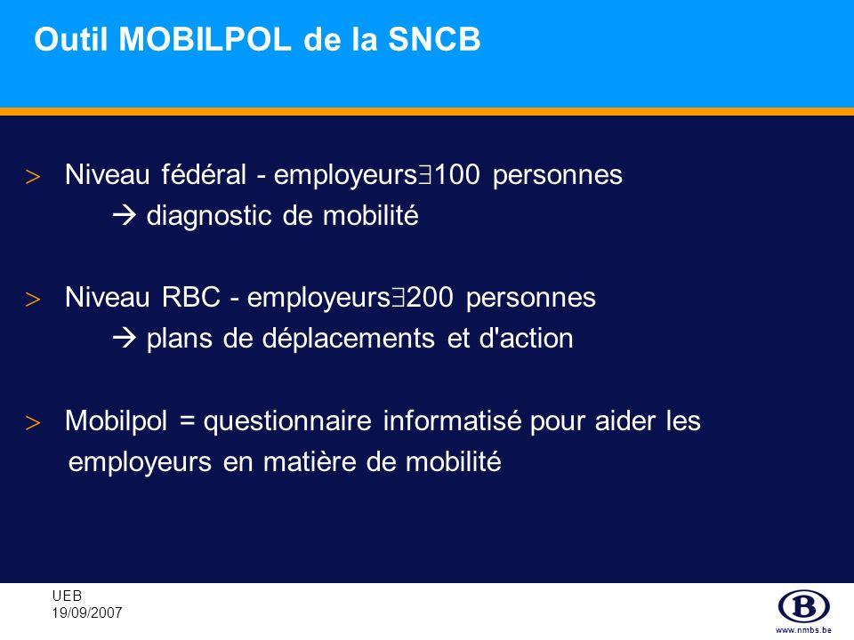 www.nmbs.be UEB 19/09/2007 Outil MOBILPOL de la SNCB Niveau fédéral - employeurs 100 personnes diagnostic de mobilité Niveau RBC - employeurs 200 pers