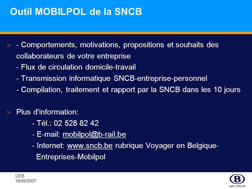 www.nmbs.be UEB 19/09/2007 Outil MOBILPOL de la SNCB - Comportements, motivations, propositions et souhaits des collaborateurs de votre entreprise - F