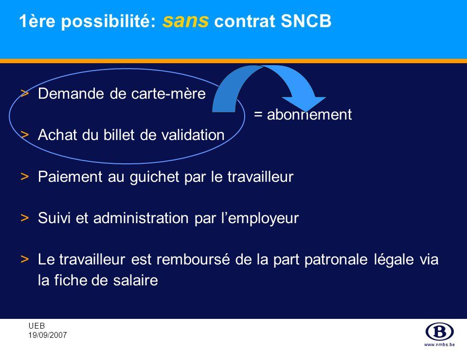 www.nmbs.be UEB 19/09/2007 1ère possibilité: sans contrat SNCB >Demande de carte-mère = abonnement >Achat du billet de validation >Paiement au guichet