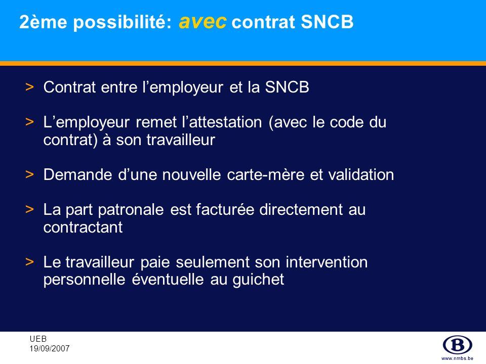 www.nmbs.be UEB 19/09/2007 >Contrat entre lemployeur et la SNCB >Lemployeur remet lattestation (avec le code du contrat) à son travailleur >Demande du