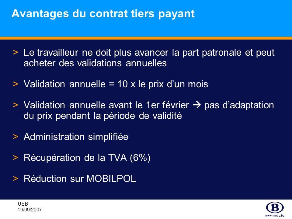 www.nmbs.be UEB 19/09/2007 Avantages du contrat tiers payant >Le travailleur ne doit plus avancer la part patronale et peut acheter des validations an