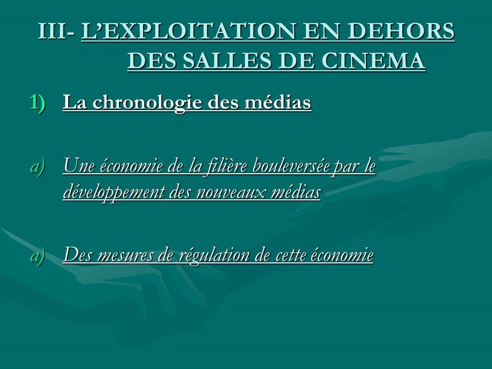 III- LEXPLOITATION EN DEHORS DES SALLES DE CINEMA 1)La chronologie des médias a)Une économie de la filière bouleversée par le développement des nouvea
