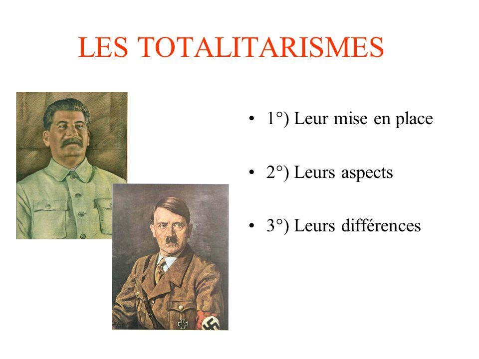 LES TOTALITARISMES 1°) Leur mise en place 2°) Leurs aspects 3°) Leurs différences