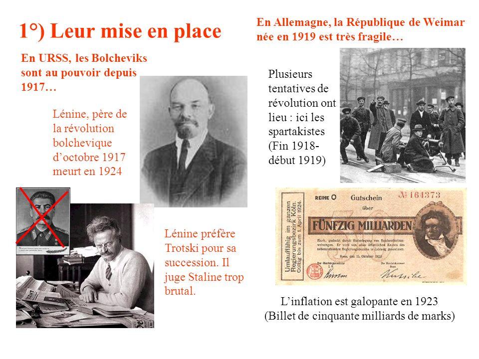 1°) Leur mise en place Lénine, père de la révolution bolchevique doctobre 1917 meurt en 1924 Lénine préfère Trotski pour sa succession. Il juge Stalin