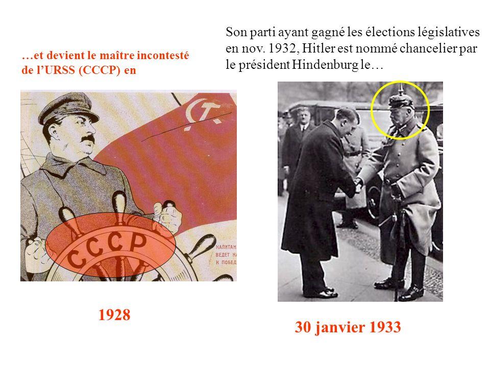 Son parti ayant gagné les élections législatives en nov. 1932, Hitler est nommé chancelier par le président Hindenburg le… 30 janvier 1933 …et devient