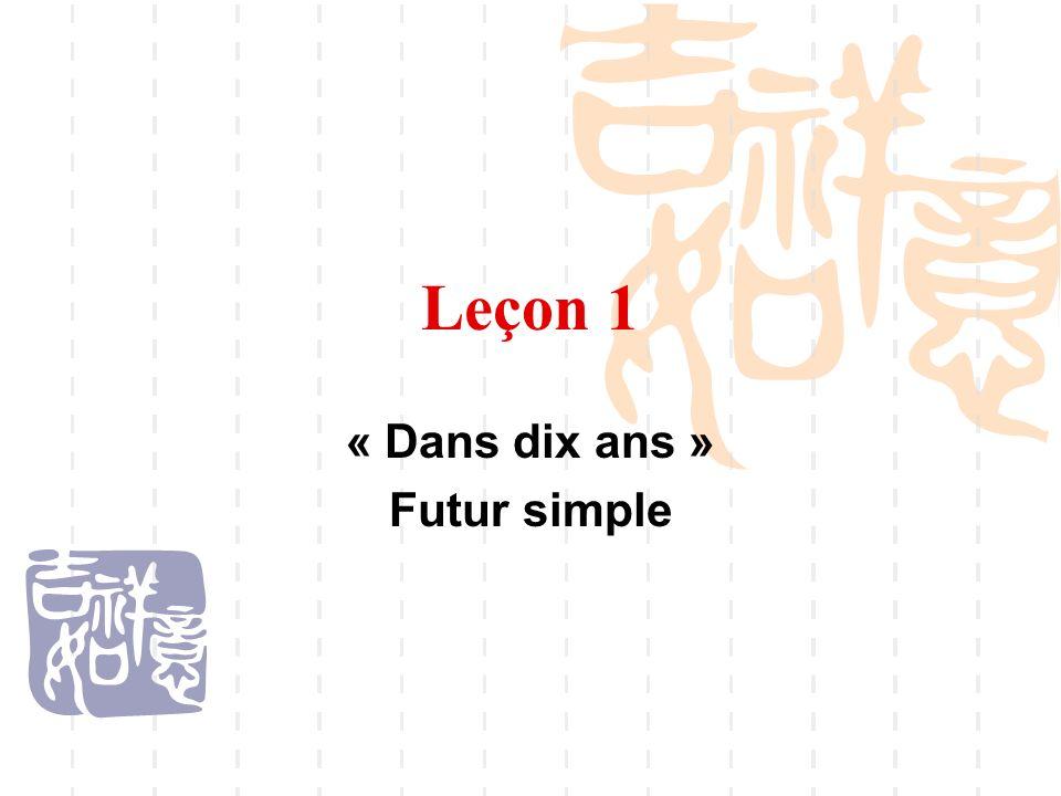 Leçon 1 « Dans dix ans » Futur simple
