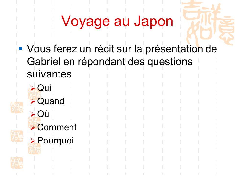 Voyage au Japon Vous ferez un récit sur la présentation de Gabriel en répondant des questions suivantes Qui Quand Où Comment Pourquoi