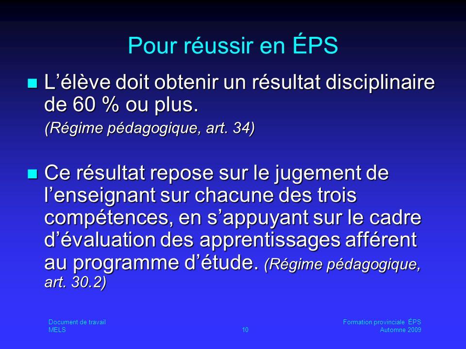Pour réussir en ÉPS Lélève doit obtenir un résultat disciplinaire de 60 % ou plus.