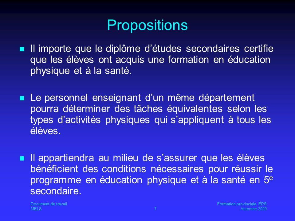 Propositions Il importe que le diplôme détudes secondaires certifie que les élèves ont acquis une formation en éducation physique et à la santé.