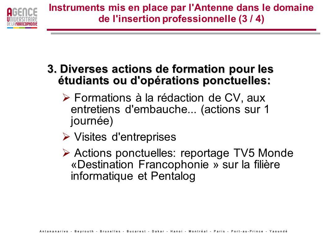 Instruments mis en place par l'Antenne dans le domaine de l'insertion professionnelle (3 / 4) 3. Diverses actions de formation pour les étudiants ou d