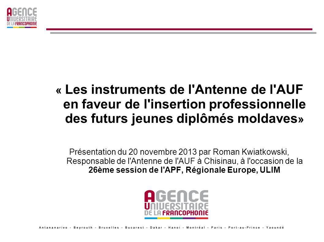 « Les instruments de l'Antenne de l'AUF en faveur de l'insertion professionnelle des futurs jeunes diplômés moldaves » Présentation du 20 novembre 201