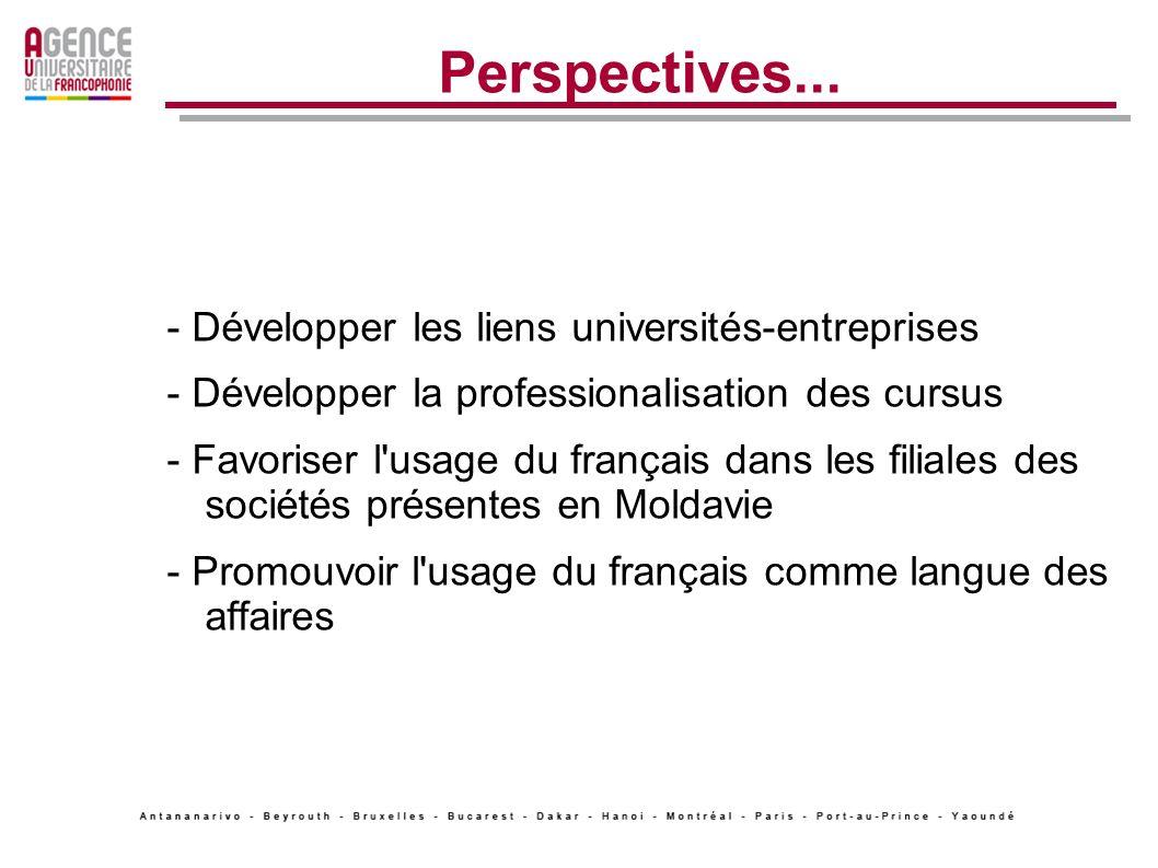 Perspectives... - Développer les liens universités-entreprises - Développer la professionalisation des cursus - Favoriser l'usage du français dans les