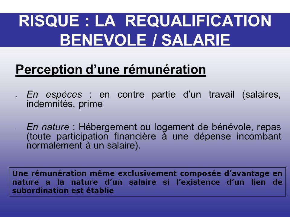 Perception dune rémunération - En espèces : en contre partie dun travail (salaires, indemnités, prime - En nature : Hébergement ou logement de bénévol