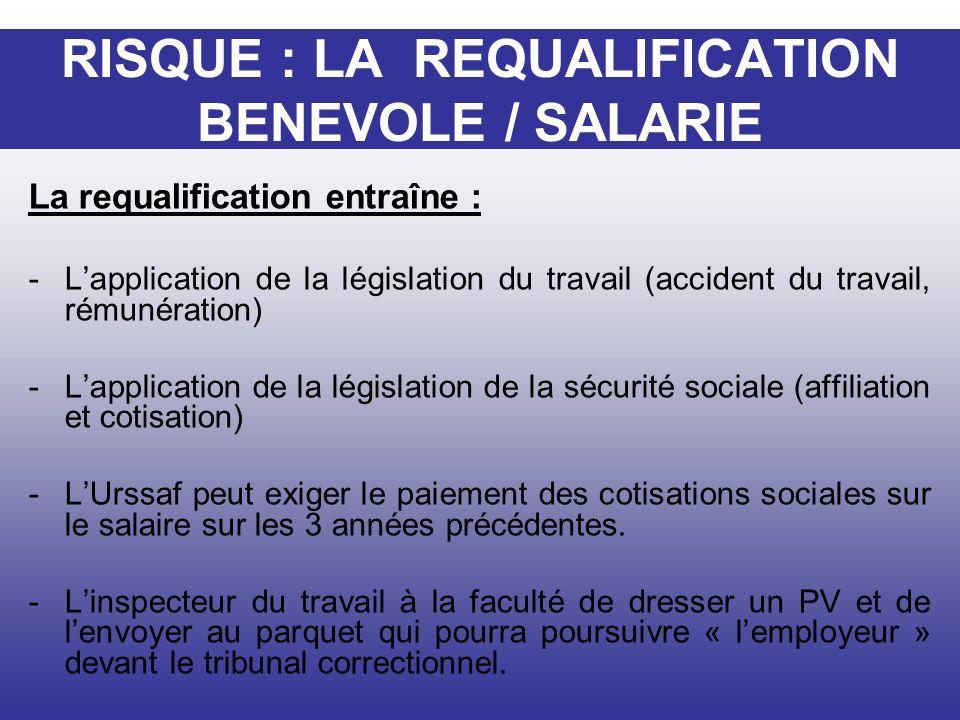 La requalification entraîne : -Lapplication de la législation du travail (accident du travail, rémunération) -Lapplication de la législation de la séc
