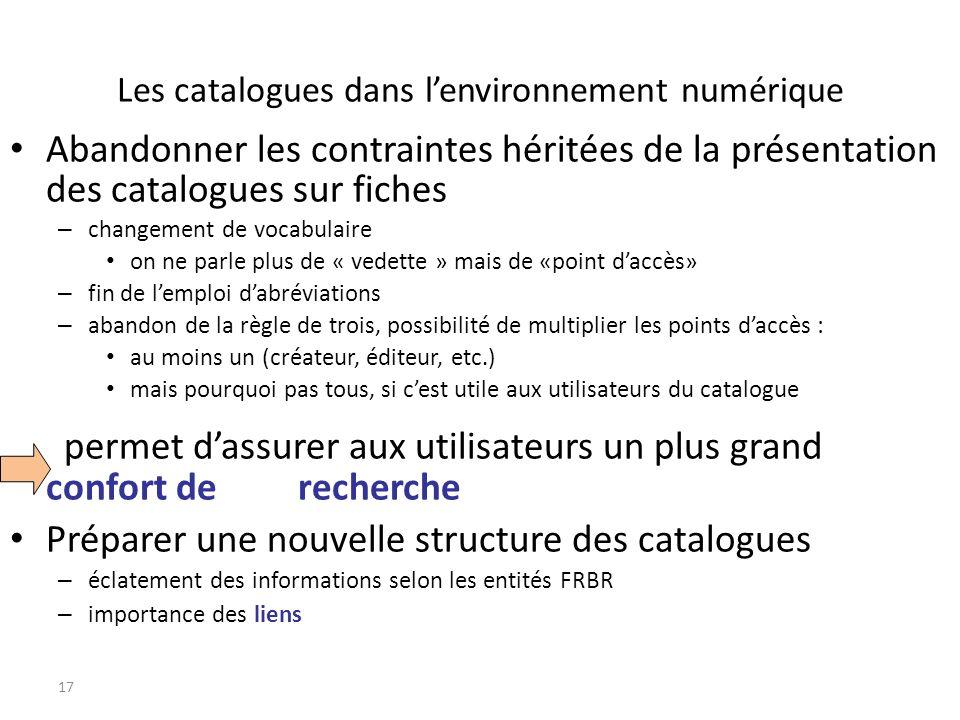 Les catalogues dans lenvironnement numérique Abandonner les contraintes héritées de la présentation des catalogues sur fiches – changement de vocabula