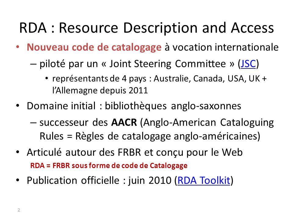 RDA : Resource Description and Access Nouveau code de catalogage à vocation internationale – piloté par un « Joint Steering Committee » (JSC)JSC repré