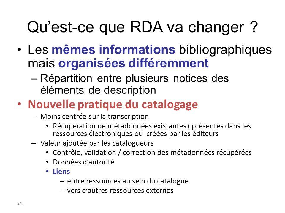 24 Quest-ce que RDA va changer ? Les mêmes informations bibliographiques mais organisées différemment –Répartition entre plusieurs notices des élément