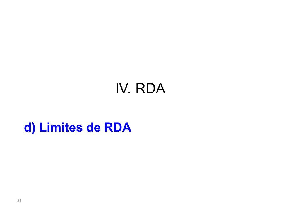 31 IV. RDA d) Limites de RDA