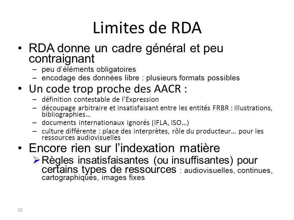 32 Limites de RDA RDA donne un cadre général et peu contraignant –peu déléments obligatoires –encodage des données libre : plusieurs formats possibles