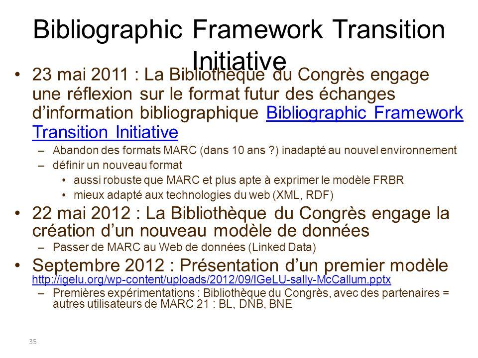 Bibliographic Framework Transition Initiative 23 mai 2011 : La Bibliothèque du Congrès engage une réflexion sur le format futur des échanges dinformat