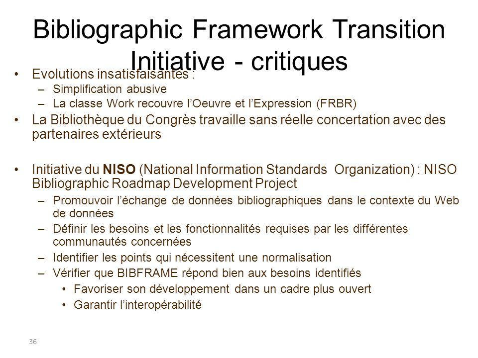 Bibliographic Framework Transition Initiative - critiques Evolutions insatisfaisantes : –Simplification abusive –La classe Work recouvre lOeuvre et lE