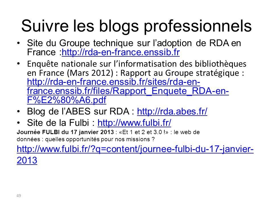 49 Suivre les blogs professionnels Site du Groupe technique sur ladoption de RDA en France :http://rda-en-france.enssib.frhttp://rda-en-france.enssib.