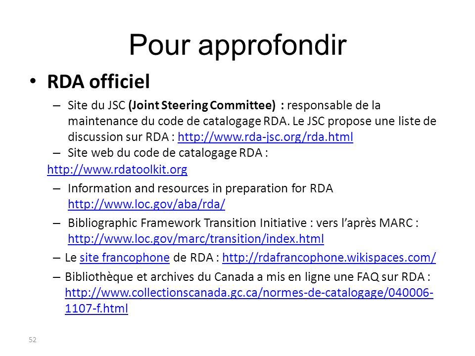 52 Pour approfondir RDA officiel – Site du JSC (Joint Steering Committee) : responsable de la maintenance du code de catalogage RDA. Le JSC propose un