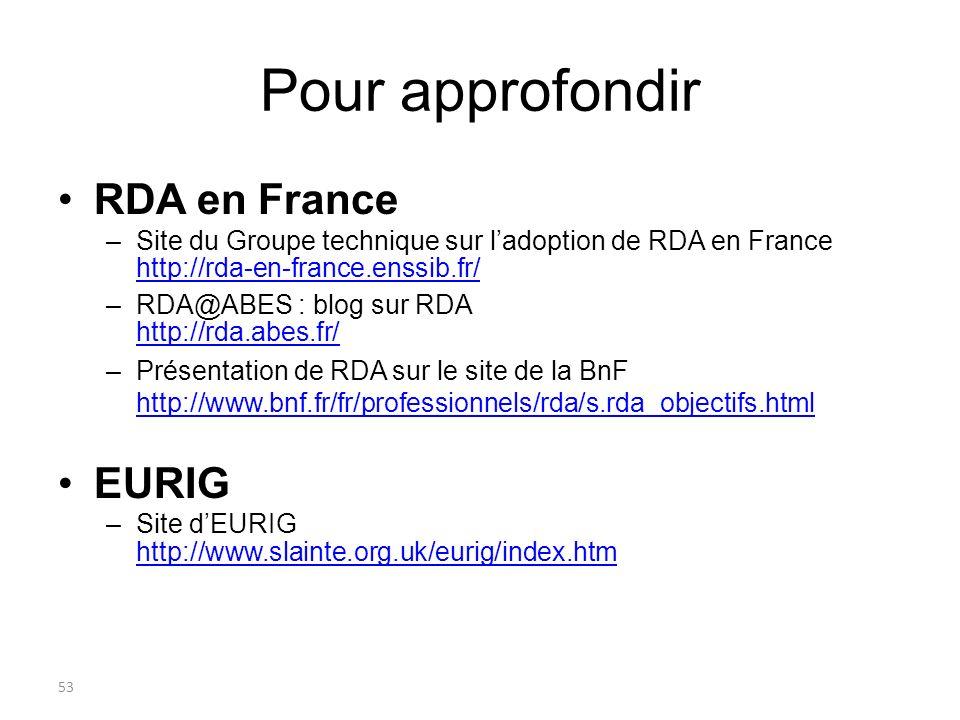 53 Pour approfondir RDA en France –Site du Groupe technique sur ladoption de RDA en France http://rda-en-france.enssib.fr/ http://rda-en-france.enssib