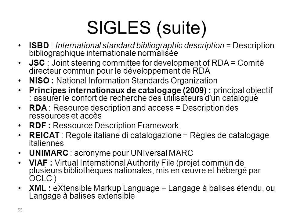 SIGLES (suite) ISBD : International standard bibliographic description = Description bibliographique internationale normalisée JSC : Joint steering co