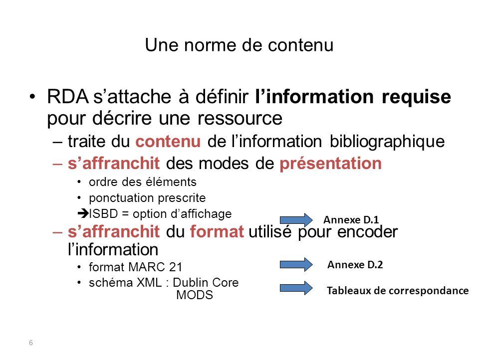 6 Une norme de contenu RDA sattache à définir linformation requise pour décrire une ressource –traite du contenu de linformation bibliographique –saff