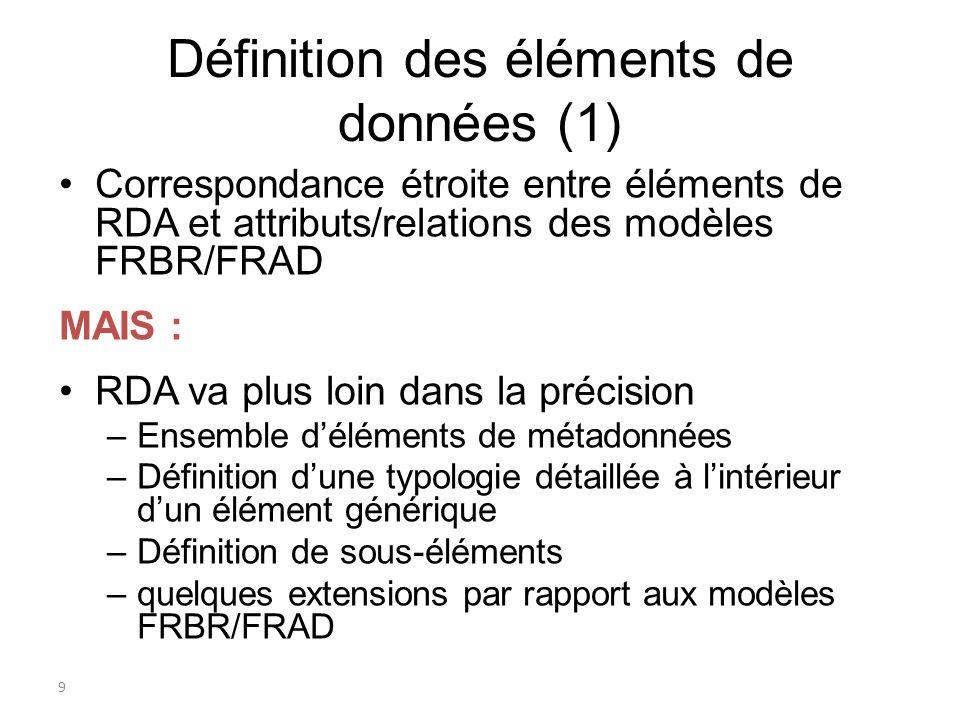 9 Définition des éléments de données (1) Correspondance étroite entre éléments de RDA et attributs/relations des modèles FRBR/FRAD MAIS : RDA va plus